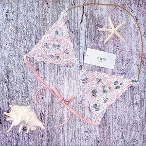 NWT Zaful Embellished Crochet Lace Swim Bikini Top